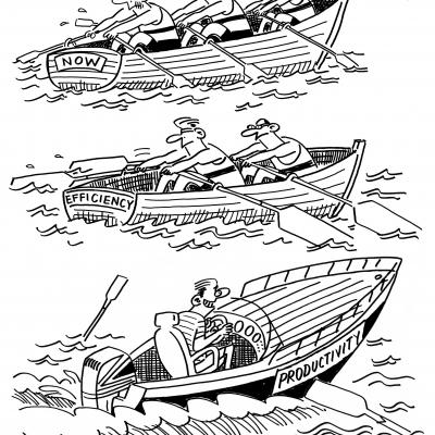 London Cartoonists Rowing Productivity Cartoon