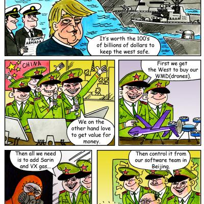 London Cartoonists Trumps Armada Cartoon