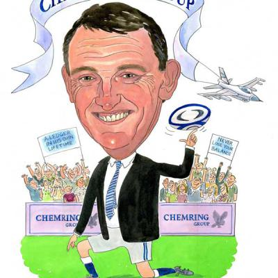 London Cartoonists Rugby Chairman Caricature