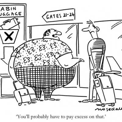 London Cartoonists Luggage Check in Cartoon