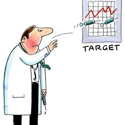 London Cartoonists, NHS Budget Targets Cartoon